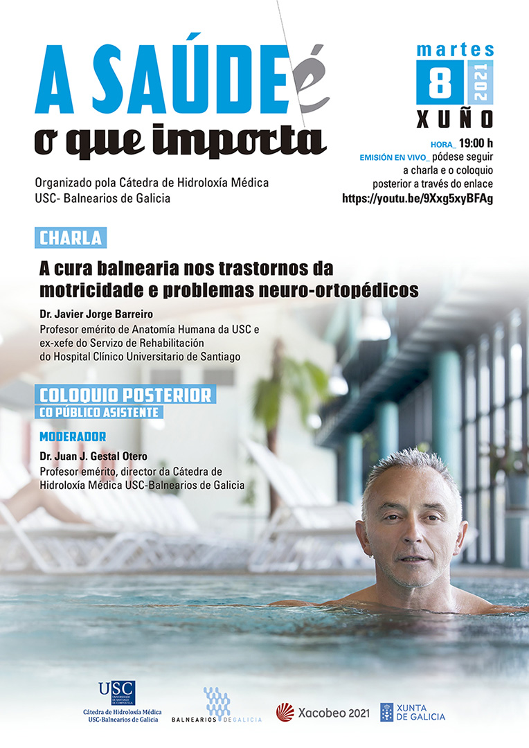 "Cartel de ""A cura balnearia nos trastornos da motricidade e problemas neuro-ortopédicos""."